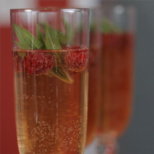 Verbena and raspberry cocktail