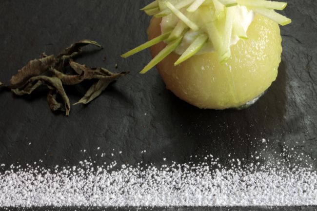 Stewed Granny Smith Apples & Lemon Verbena Baked Cream by Ludovic Aillaud