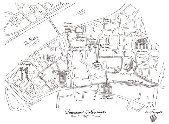Le plan de la ville d'Arles